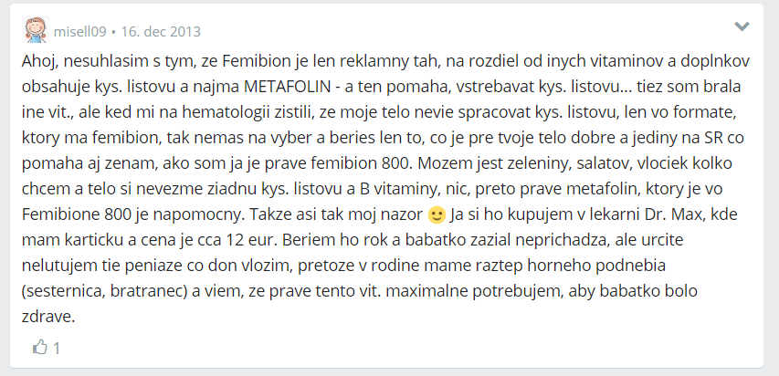 Diskusia na prípravok Femibion